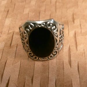 Other - Tibet Silvertone Black Oval Stone Ring - Size 8